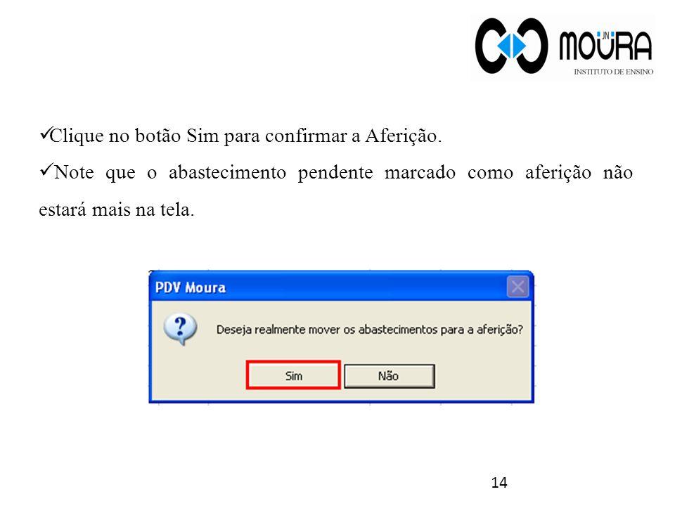Clique no botão Sim para confirmar a Aferição.