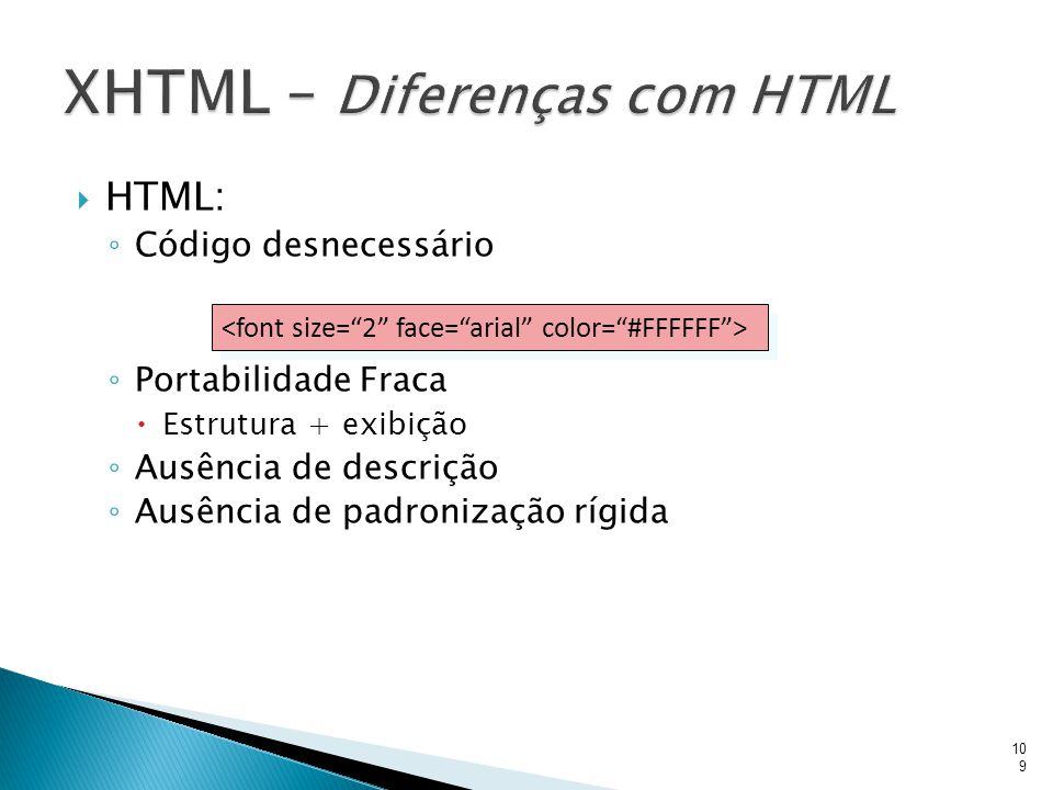 XHTML – Diferenças com HTML