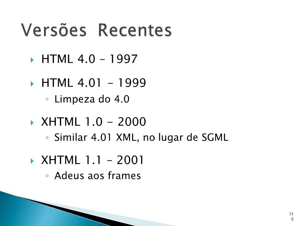 Versões Recentes HTML 4.0 – 1997 HTML 4.01 - 1999 XHTML 1.0 - 2000