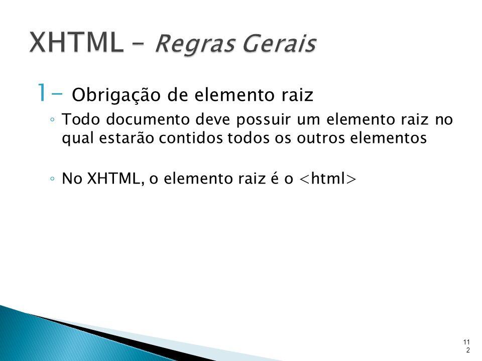 XHTML – Regras Gerais 1- Obrigação de elemento raiz