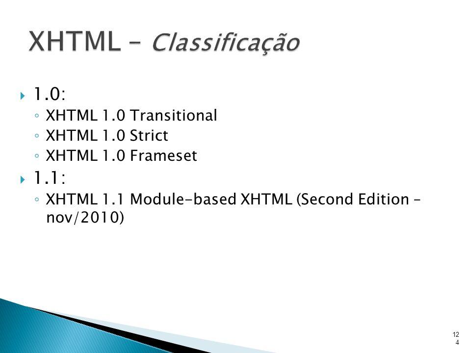XHTML – Classificação 1.0: 1.1: XHTML 1.0 Transitional