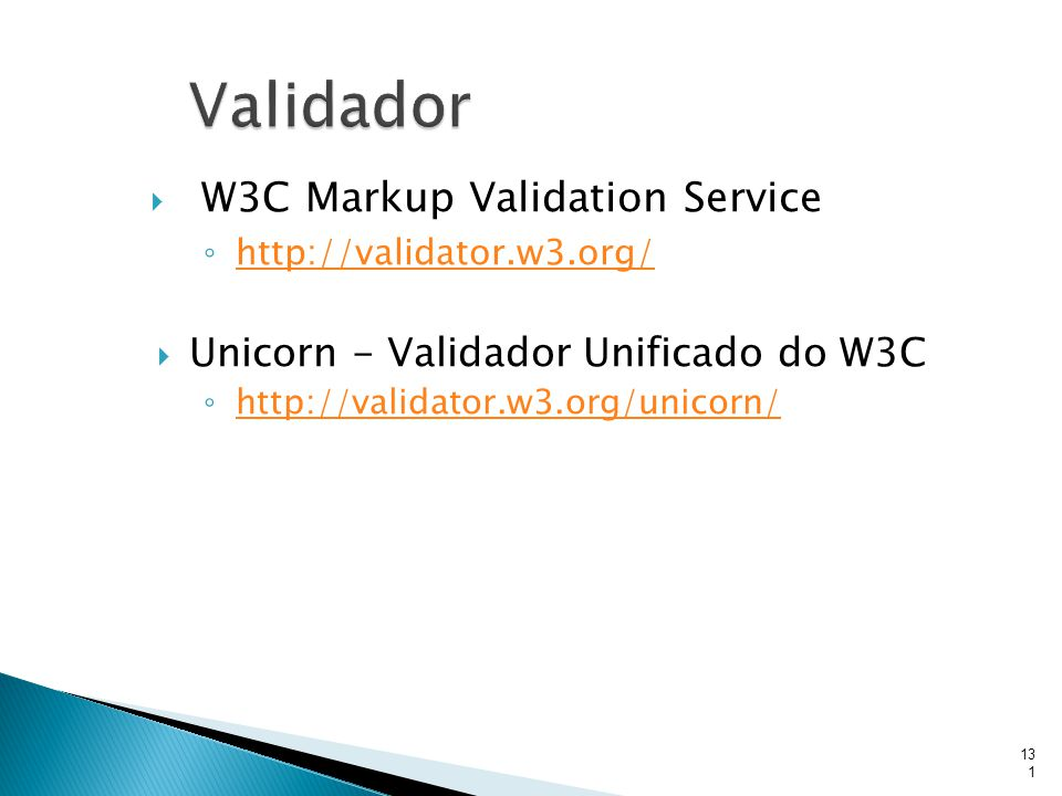 Validador W3C Markup Validation Service