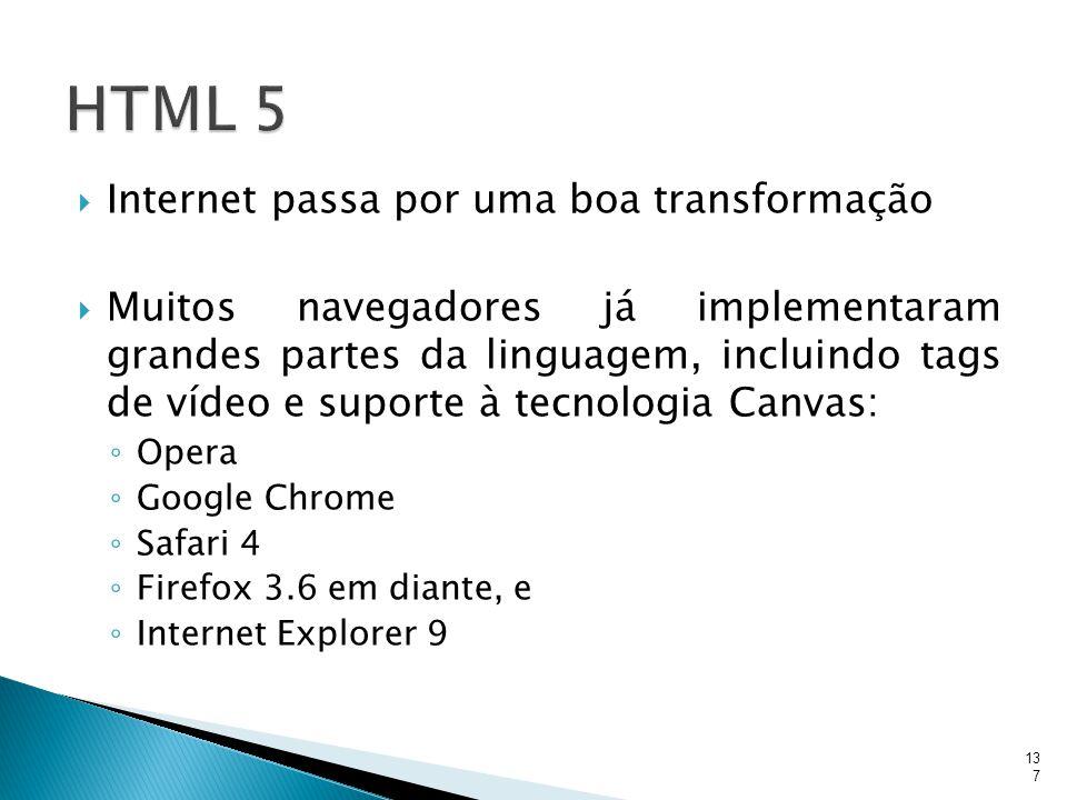 HTML 5 Internet passa por uma boa transformação