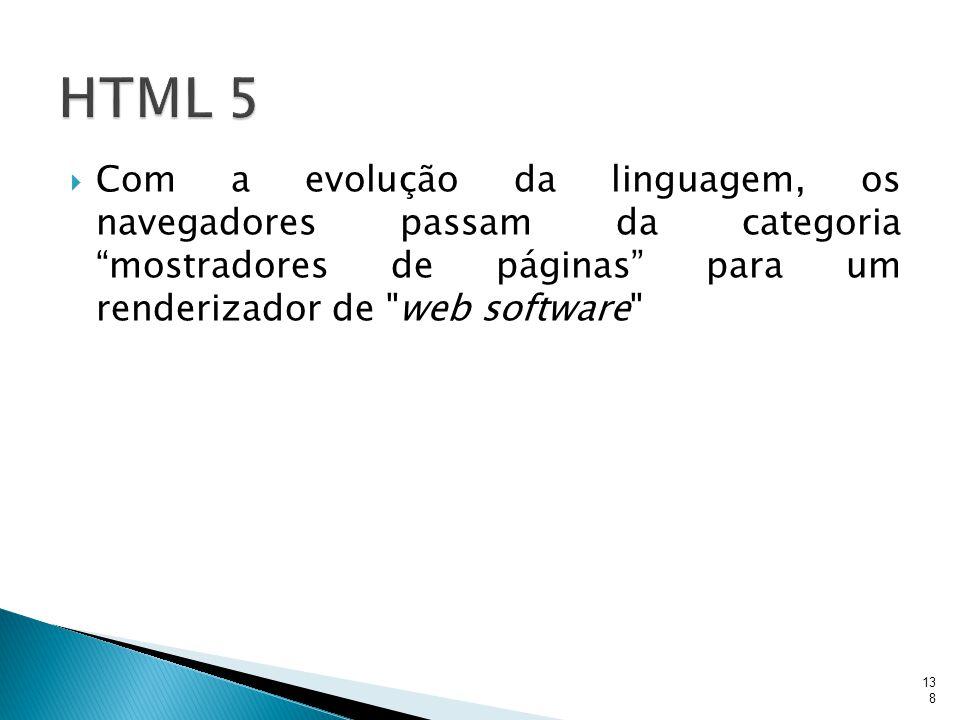 HTML 5 Com a evolução da linguagem, os navegadores passam da categoria mostradores de páginas para um renderizador de web software