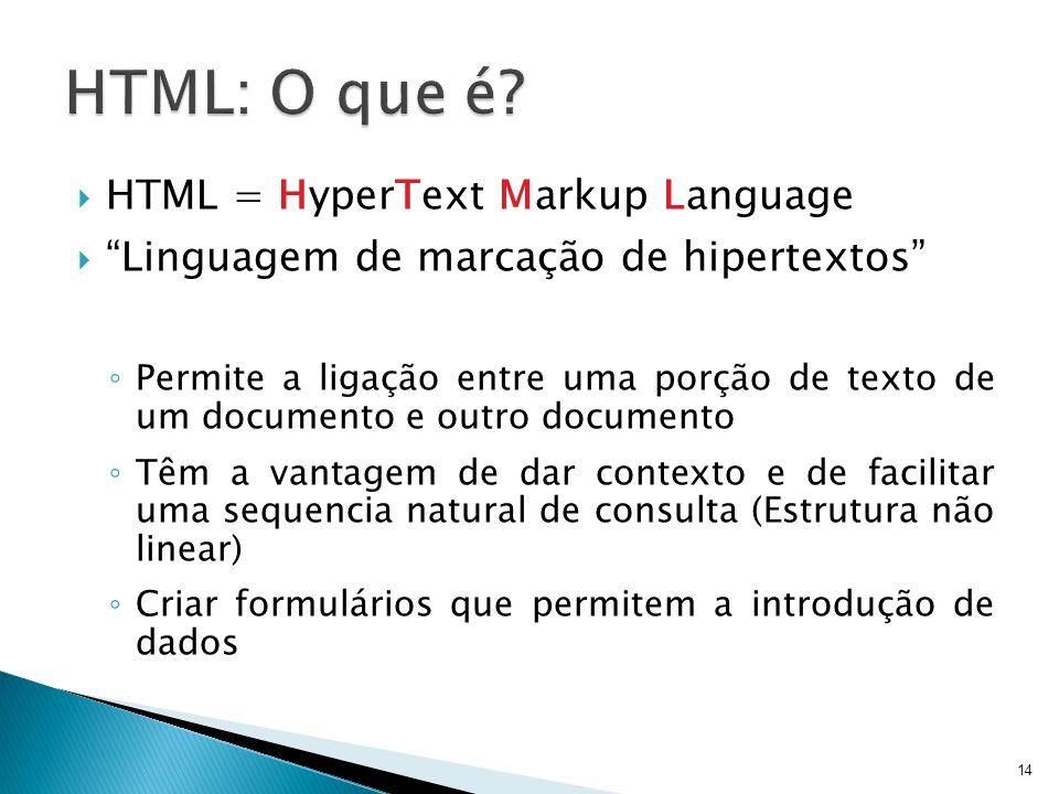 HTML: O que é HTML = HyperText Markup Language
