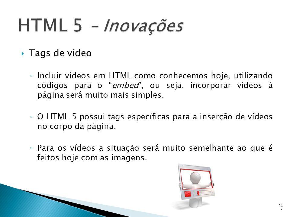 HTML 5 – Inovações Tags de vídeo