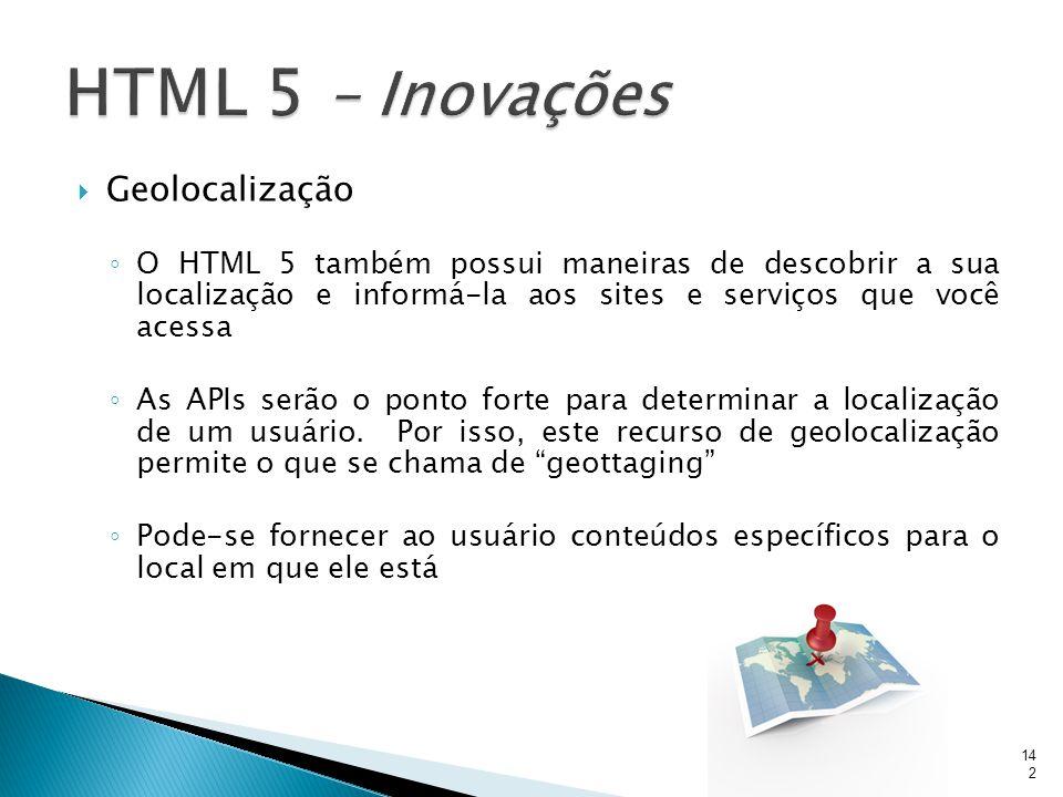 HTML 5 – Inovações Geolocalização