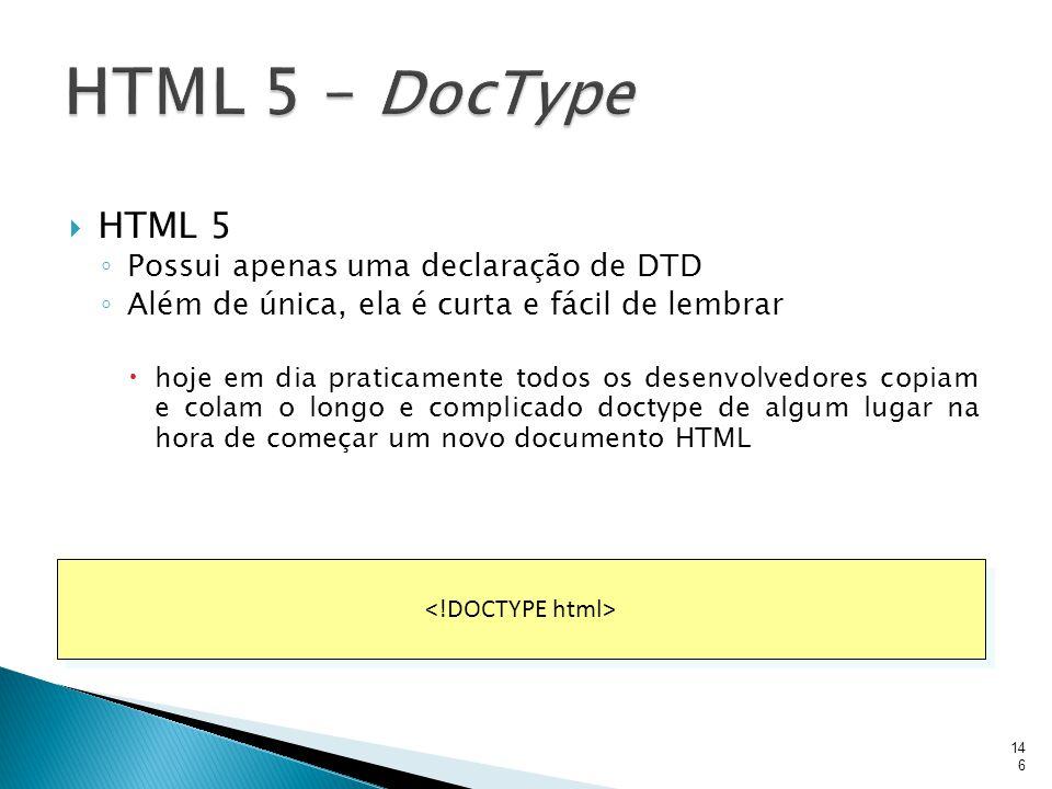 HTML 5 – DocType HTML 5 Possui apenas uma declaração de DTD