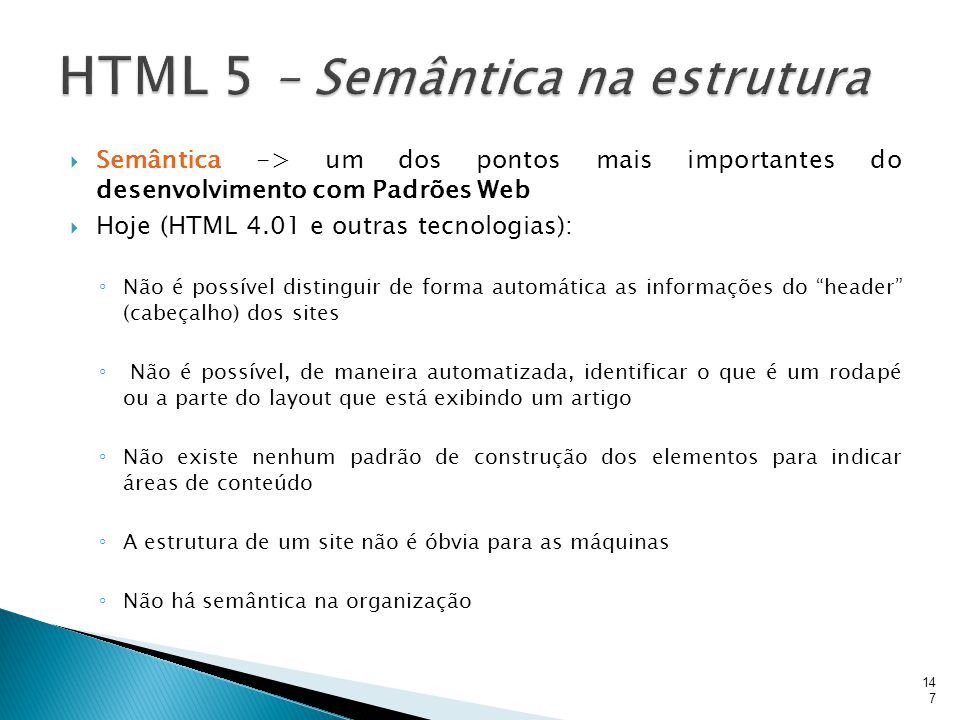 HTML 5 – Semântica na estrutura