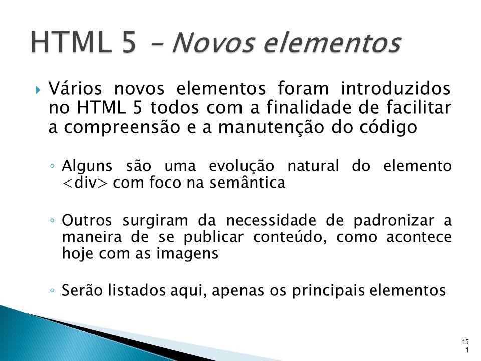 HTML 5 – Novos elementos