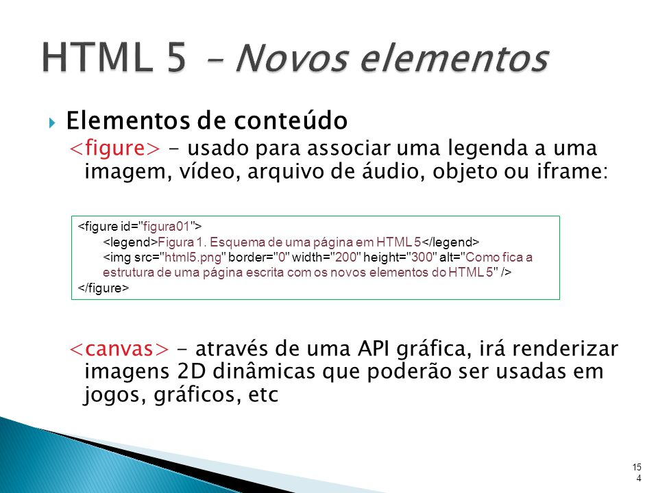HTML 5 – Novos elementos Elementos de conteúdo