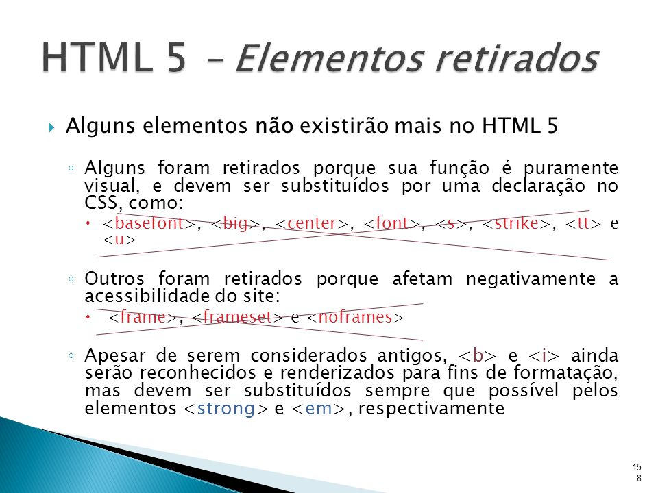 HTML 5 – Elementos retirados