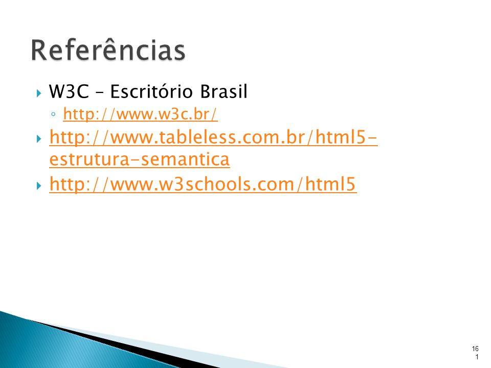 Referências W3C – Escritório Brasil