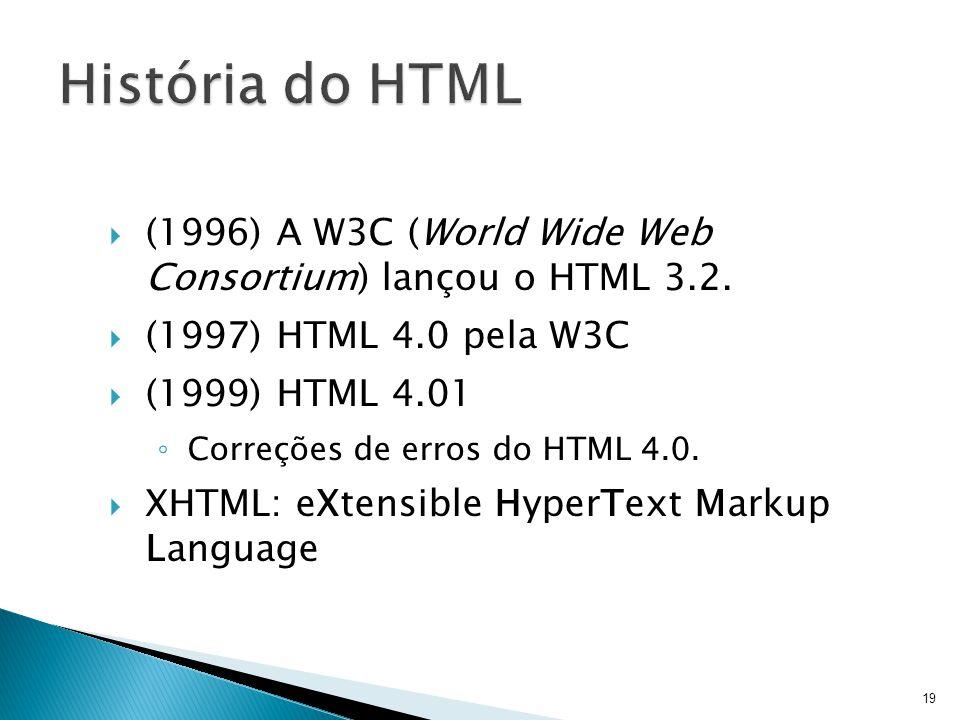 História do HTML (1996) A W3C (World Wide Web Consortium) lançou o HTML 3.2. (1997) HTML 4.0 pela W3C.