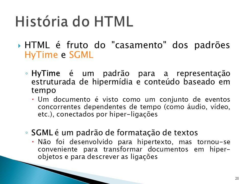 História do HTML HTML é fruto do casamento dos padrões HyTime e SGML