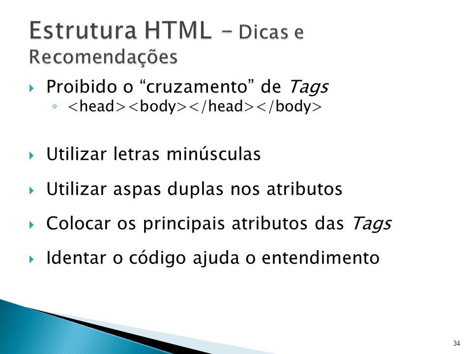Estrutura HTML – Dicas e Recomendações