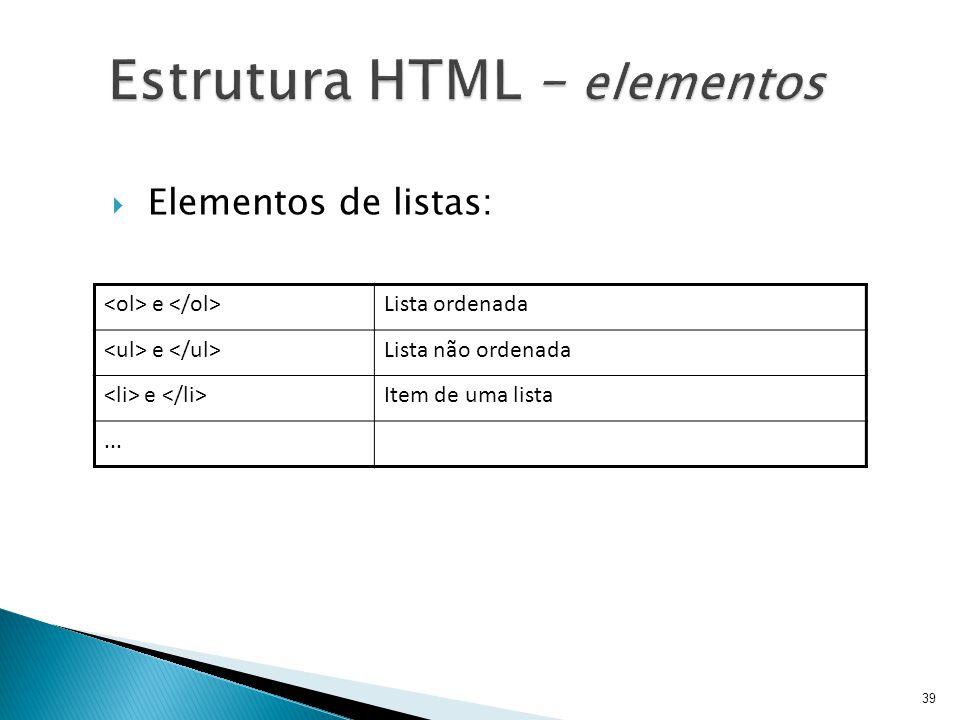 Estrutura HTML – elementos