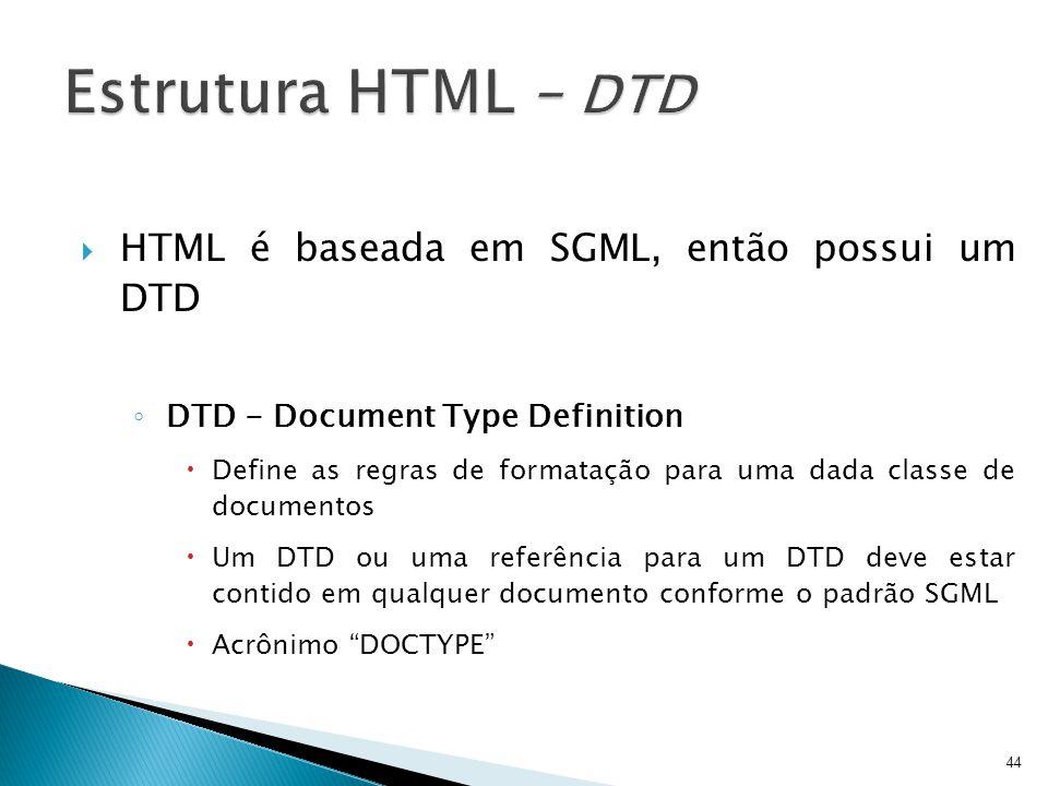 Estrutura HTML – DTD HTML é baseada em SGML, então possui um DTD