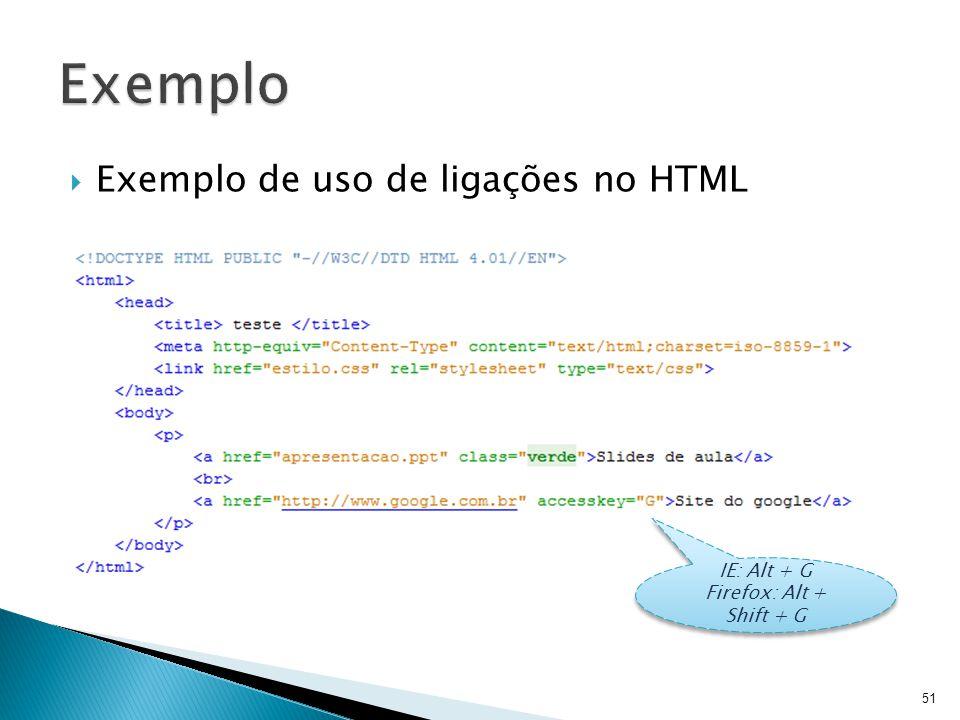 Exemplo Exemplo de uso de ligações no HTML IE: Alt + G