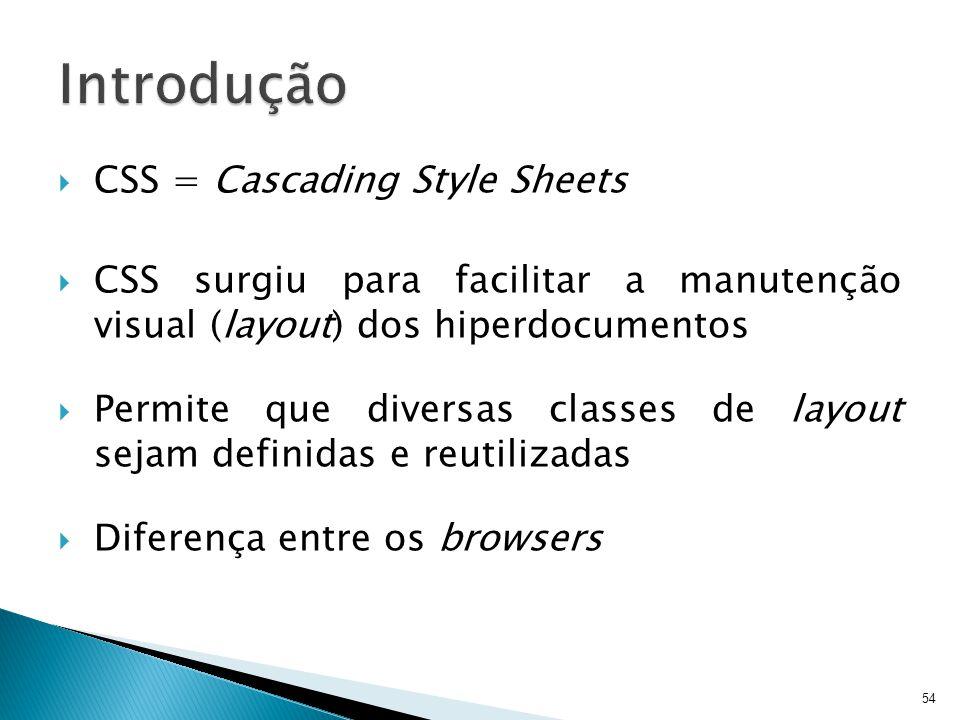 Introdução CSS = Cascading Style Sheets