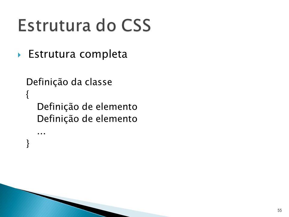 Estrutura do CSS Estrutura completa Definição da classe {