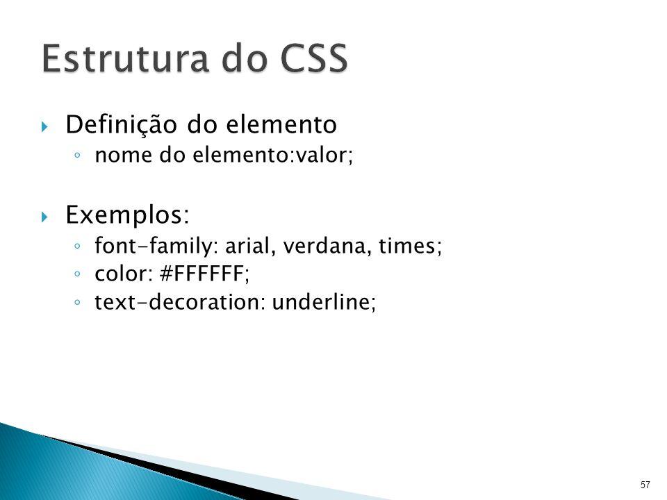 Estrutura do CSS Definição do elemento Exemplos: