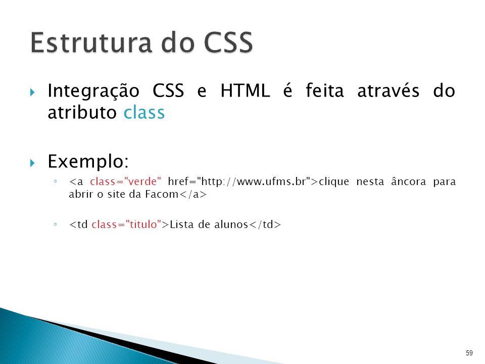 Estrutura do CSS Integração CSS e HTML é feita através do atributo class. Exemplo: