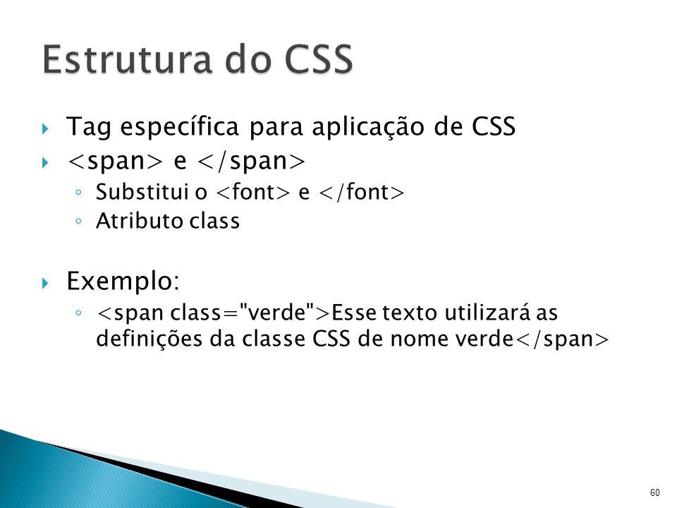 Estrutura do CSS Tag específica para aplicação de CSS