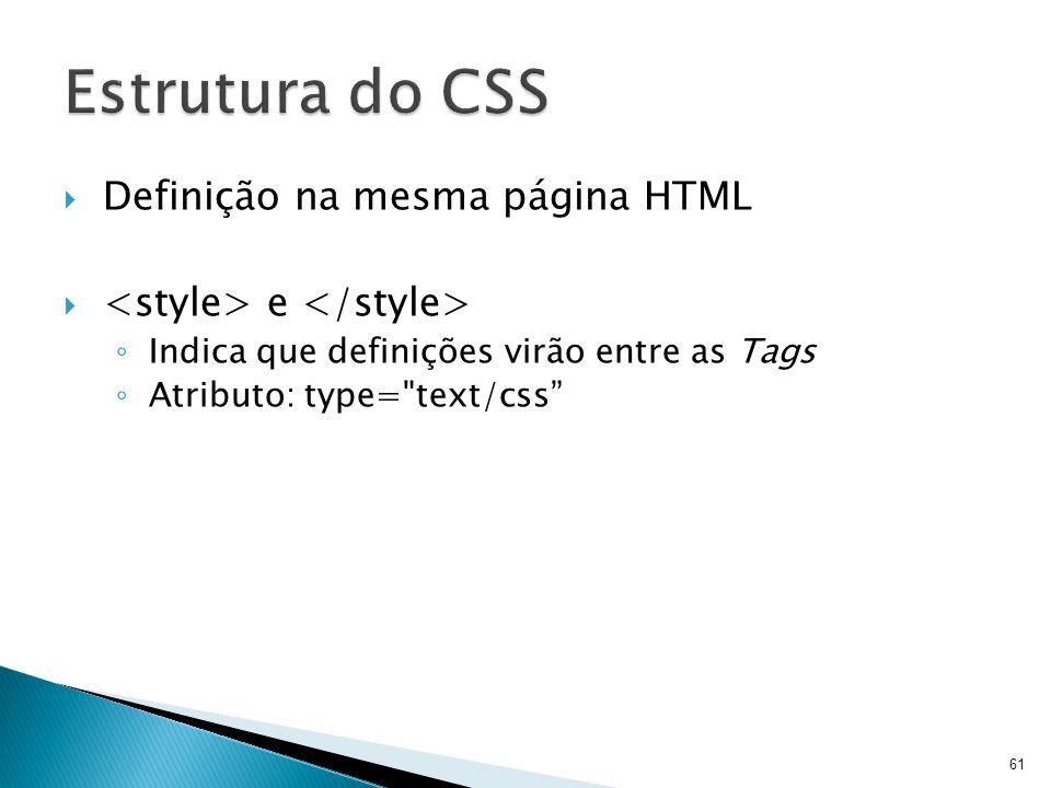 Estrutura do CSS Definição na mesma página HTML