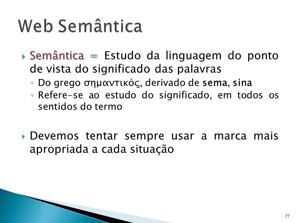 Web Semântica Semântica = Estudo da linguagem do ponto de vista do significado das palavras. Do grego σημαντικός, derivado de sema, sina.