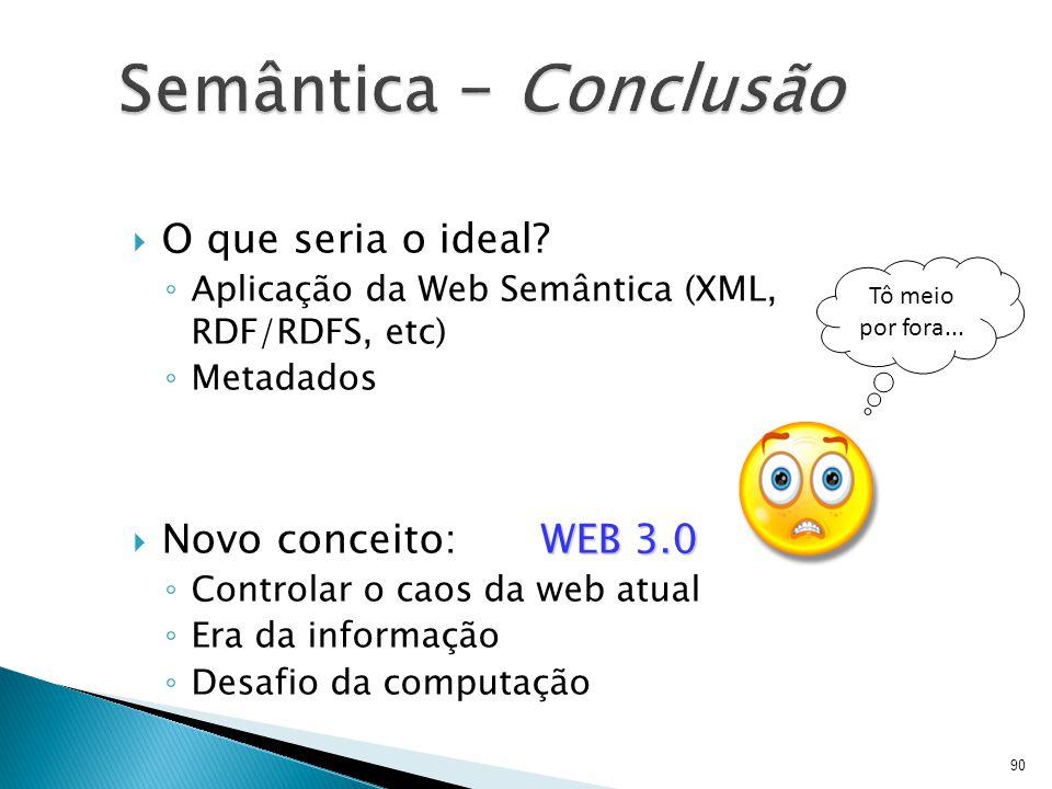 Semântica – Conclusão O que seria o ideal Novo conceito: WEB 3.0