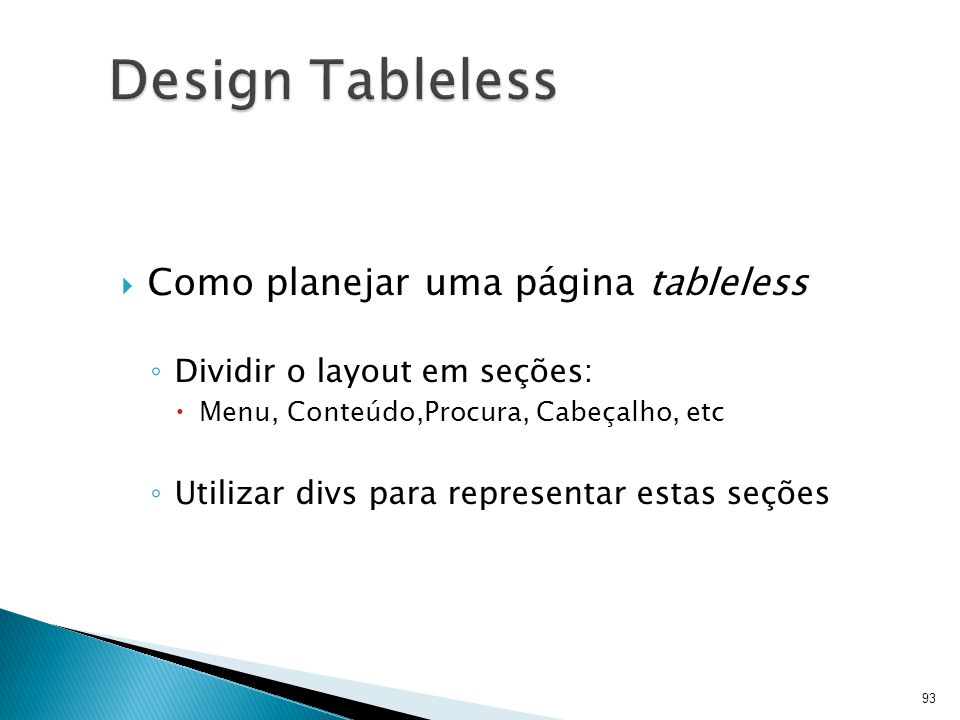 Design Tableless Como planejar uma página tableless