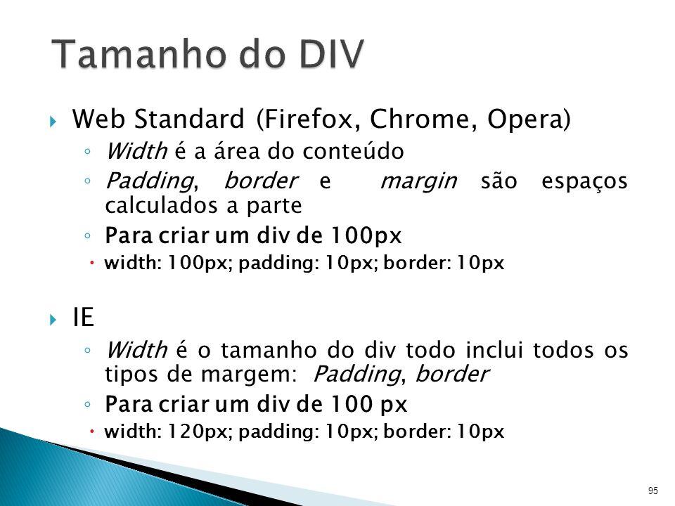 Tamanho do DIV Web Standard (Firefox, Chrome, Opera) IE