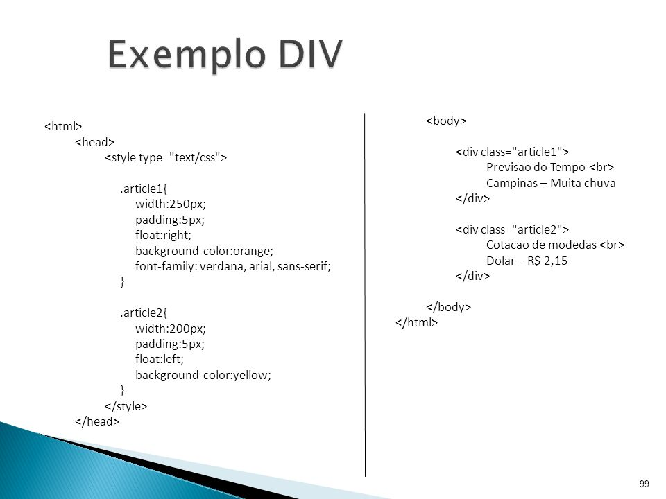 Exemplo DIV <body> <div class= article1 > <html>