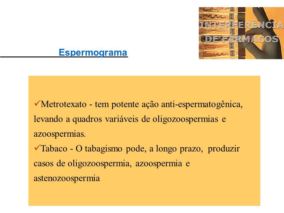 Espermograma Metrotexato - tem potente ação anti-espermatogênica, levando a quadros variáveis de oligozoospermias e azoospermias.