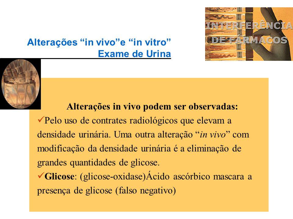 Alterações in vivo e in vitro Exame de Urina