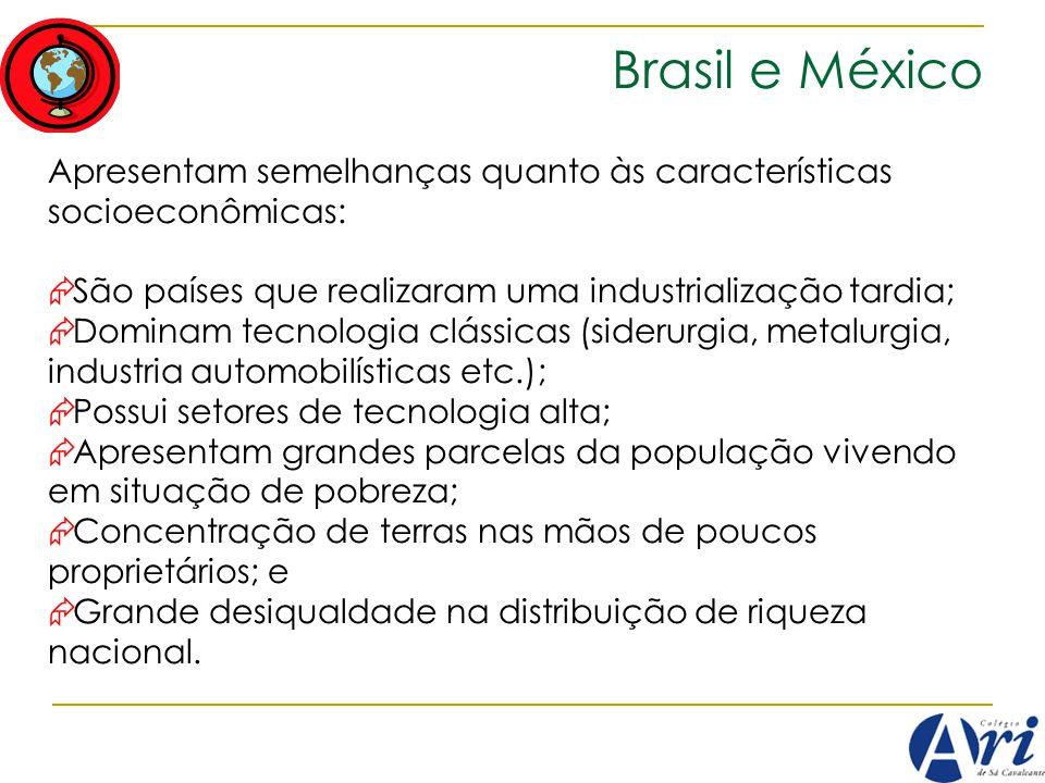 Brasil e México Apresentam semelhanças quanto às características socioeconômicas: São países que realizaram uma industrialização tardia;