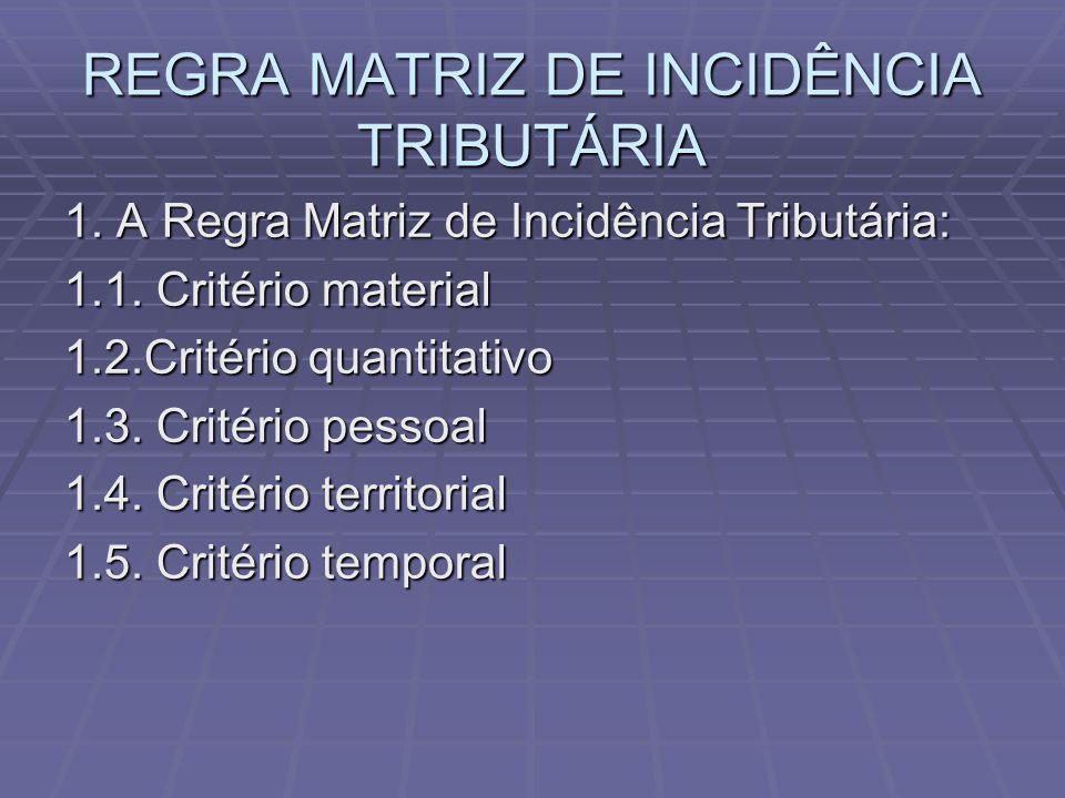 REGRA MATRIZ DE INCIDÊNCIA TRIBUTÁRIA