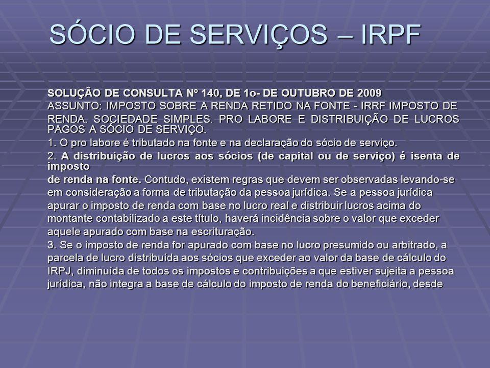 SÓCIO DE SERVIÇOS – IRPF