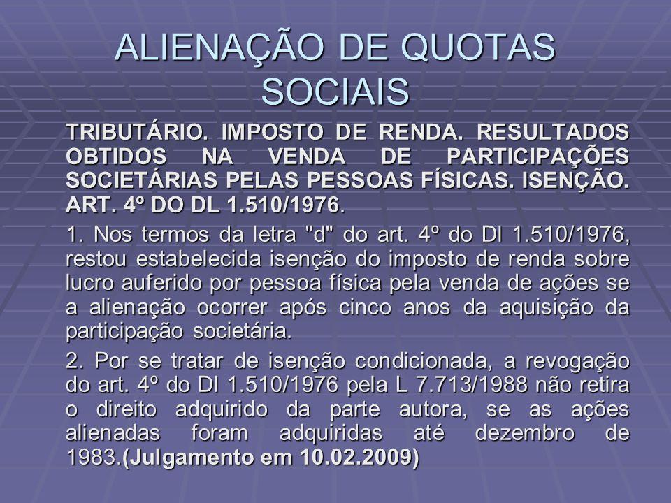 ALIENAÇÃO DE QUOTAS SOCIAIS