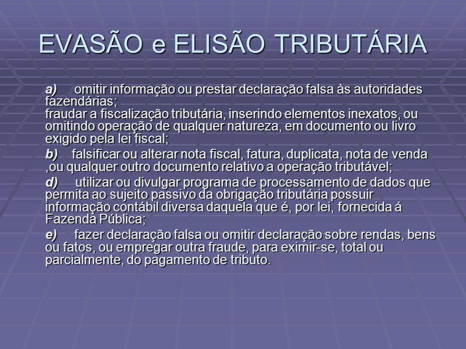 EVASÃO e ELISÃO TRIBUTÁRIA