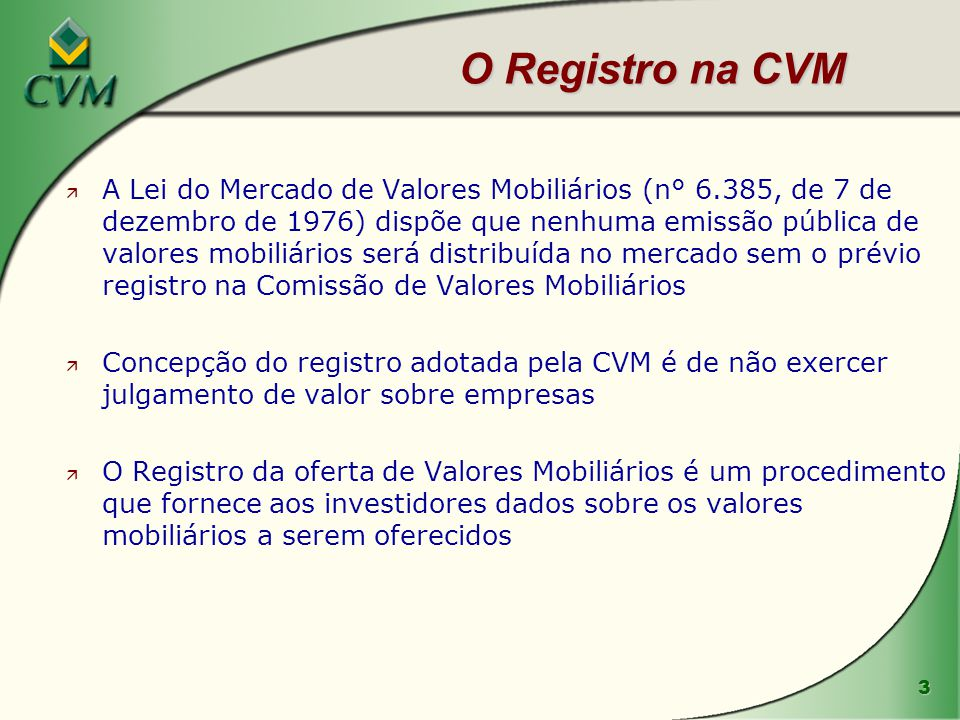 O Registro na CVM