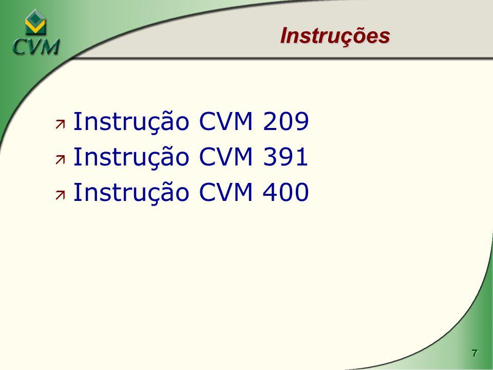 Instruções Instrução CVM 209 Instrução CVM 391 Instrução CVM 400