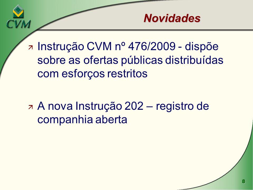 Novidades Instrução CVM nº 476/2009 - dispõe sobre as ofertas públicas distribuídas com esforços restritos.