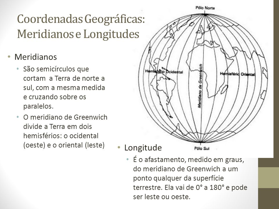 Coordenadas Geográficas: Meridianos e Longitudes