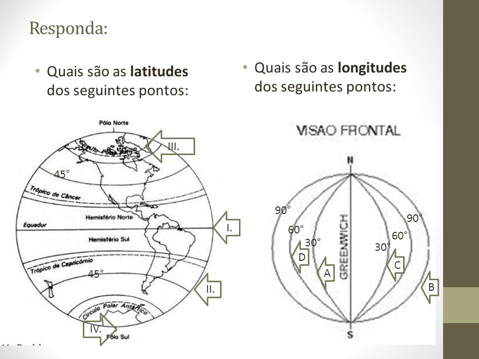 Responda: Quais são as longitudes dos seguintes pontos: