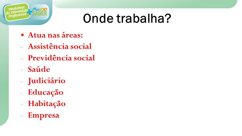 Onde trabalha Atua nas áreas: Assistência social Previdência social