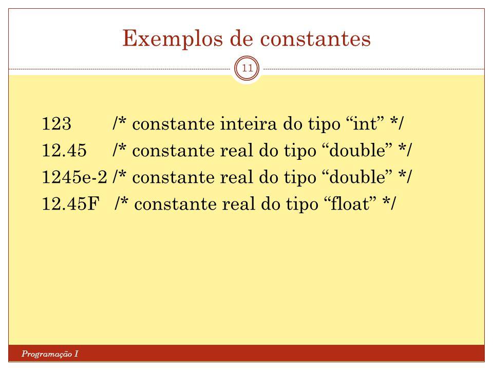 Exemplos de constantes