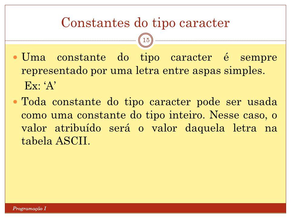 Constantes do tipo caracter