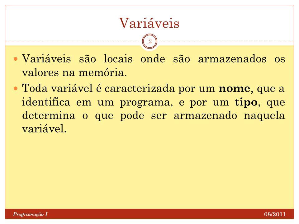 Variáveis Variáveis são locais onde são armazenados os valores na memória.
